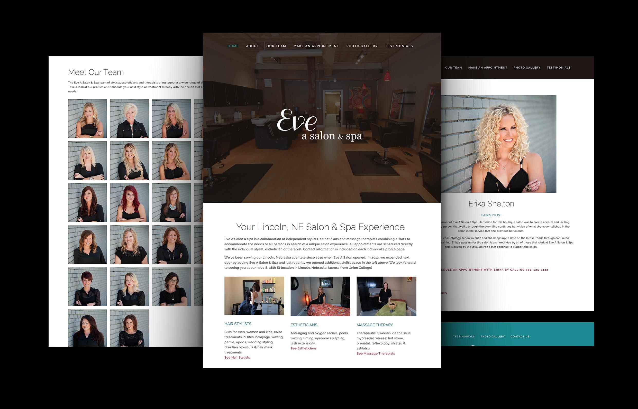 Salon Website Design | Eve A Salon and Spa