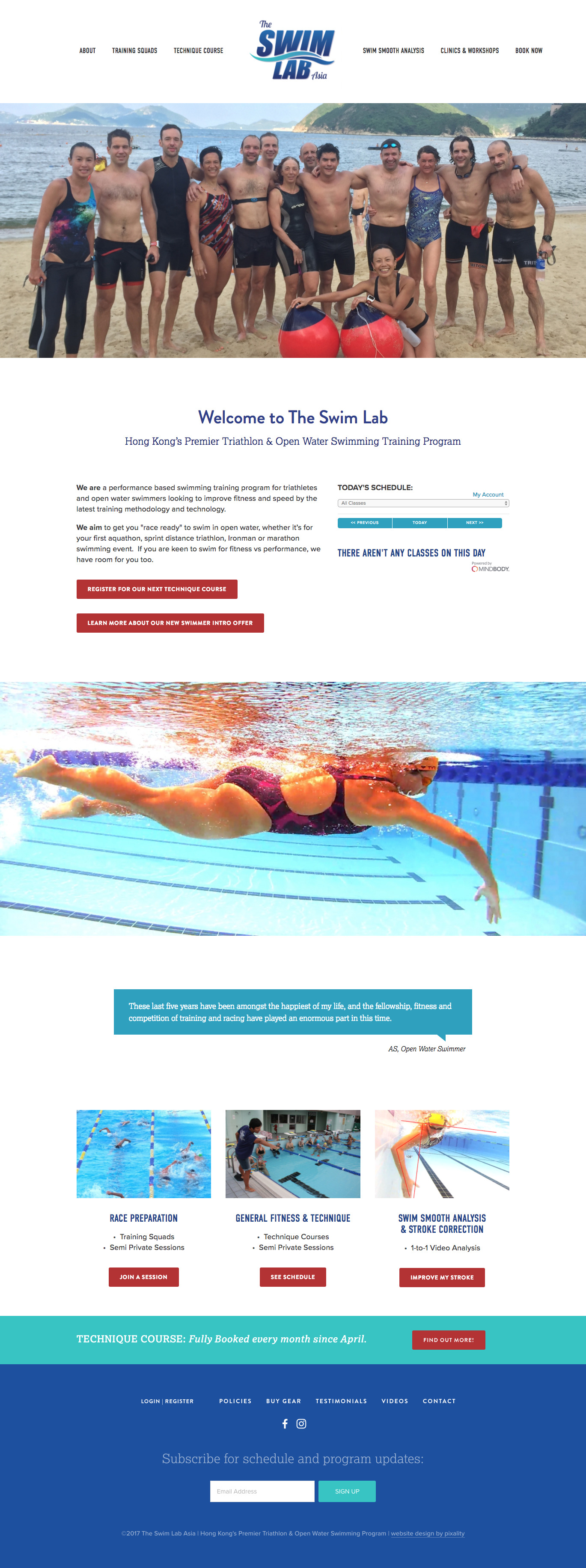 Squarespace home page design for The Swim Lab