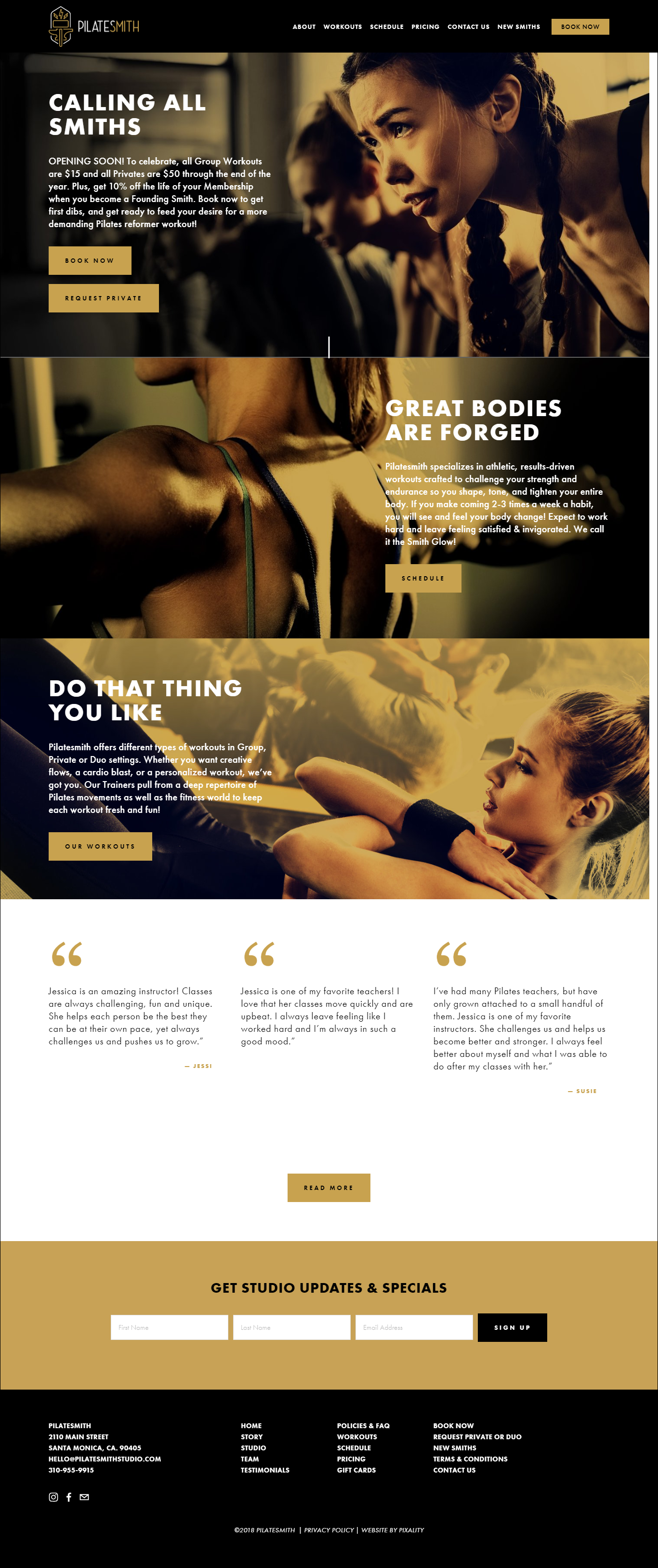 Home Page website design for Twist Yoga