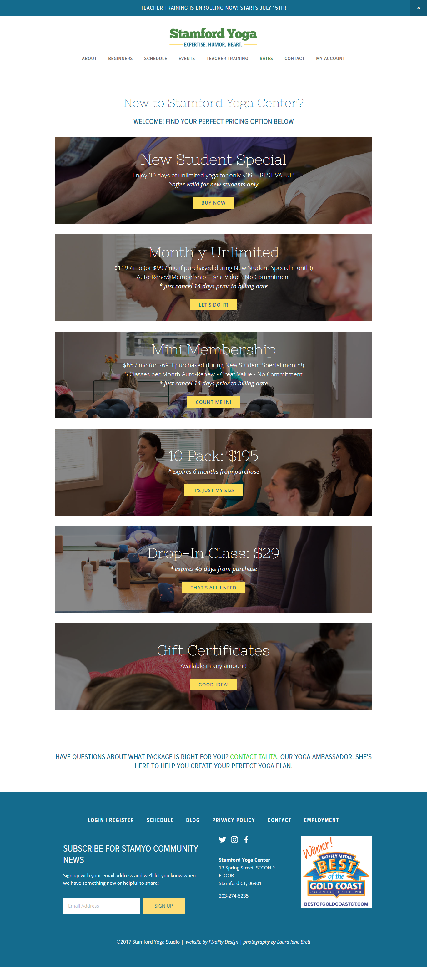 MINDBODY pricing page example for yoga studio