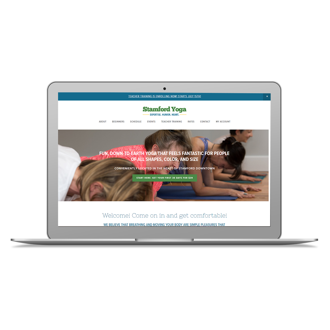 Project Summary - Studio owner, Bernadette has been around the yoga community for years and when it came time for her to open her own studio space, I was thrilled to be able to work with her to see her dreams come to reality. Bernadette wanted the site design to be casual, clean and modern while making it super easy for new students to get started. The Stamford Yoga Center website was created on the Squarespace website platform, with full MINDBODY scheduling integrated. After the site went live we also worked together to improve the Search Engine Optimization of the website, and on various facebook ad campaigns.