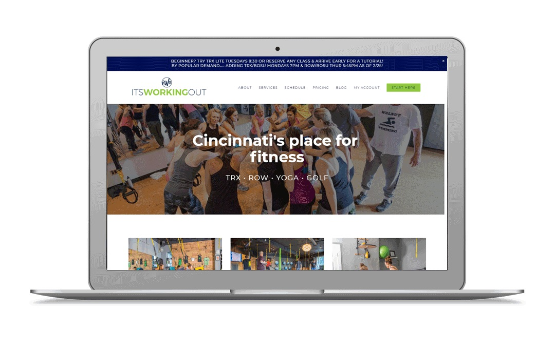 Project Summary - Cincinnati's It's Working Out offers a variety of classes and training opportunities. From popular classes like TRX and Rowing to Yoga and even Golf fitness, the studio had grown and their current website wasn't clearly communicated all that they offered. We entered the redesign with this desired simplicity and user clarity as our main goals. To do this we created a central page for all the different intro offers, and incorporated MINDBODY Branded Web widgets. Be sure to check out their Team page too, it's a fun one!