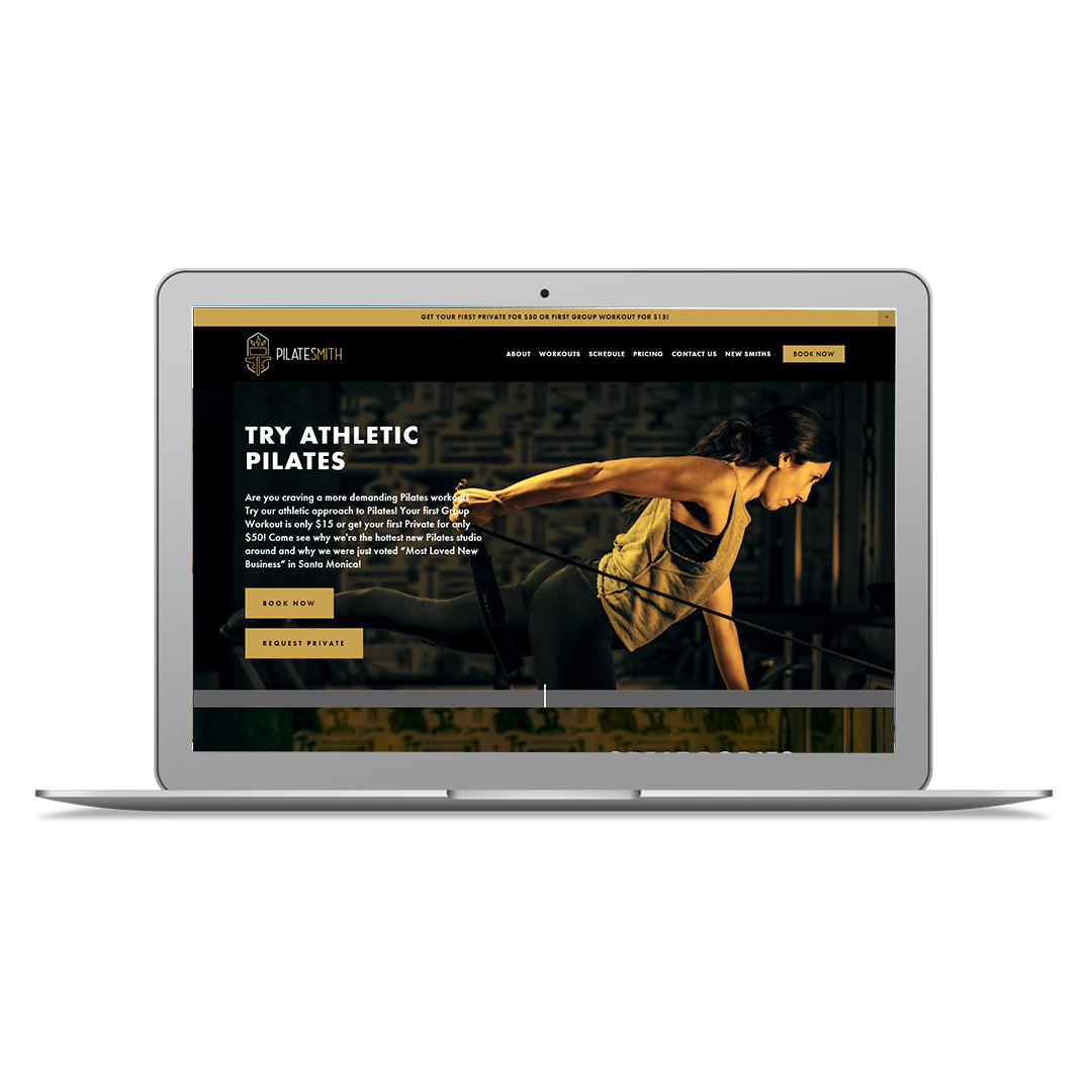 Project Summary - The grand opening for Santa Monica's Pilatesmith Studio was fast approaching and owner, Jessica needed to start pre-selling memberships ASAP. By customizing a Squarespace website and integrating MINDBODY's Branded Web widgets and purchase links we were able to have a fully-functioning site up weeks before her grand opening.