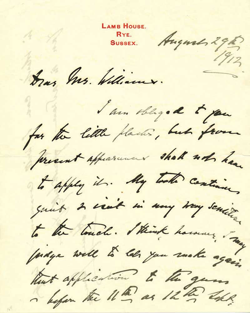 An old letter by Henry James