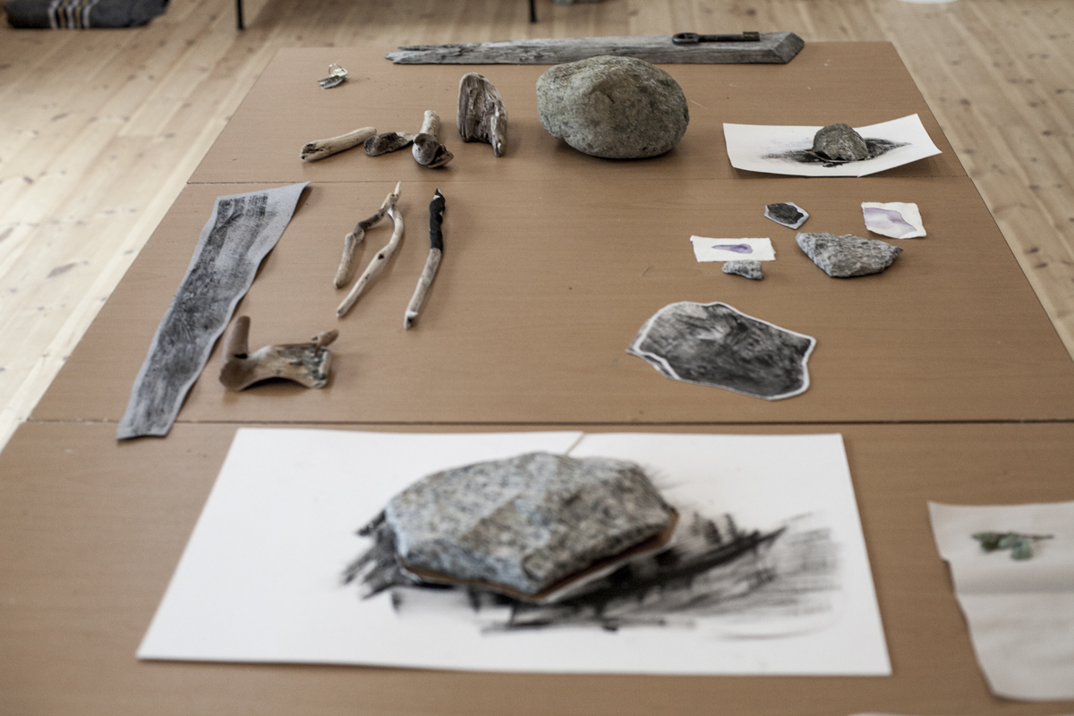 studio table filled with Laura's first finds and experiments