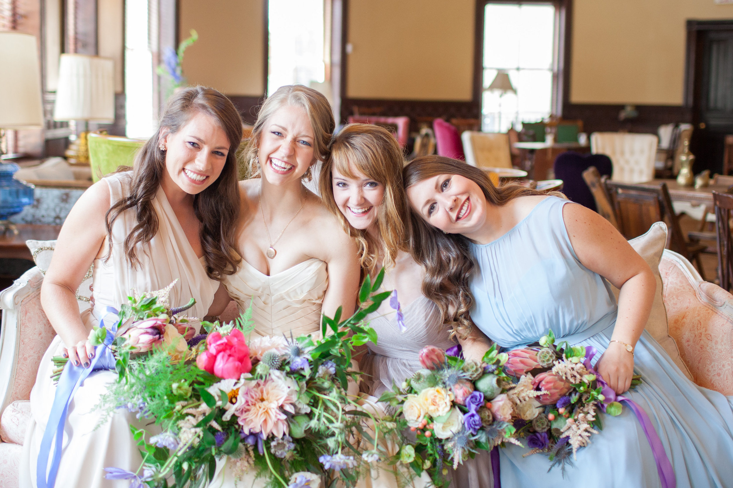 Mix and match bridesmaid dresses with vintage inspired florals. Georgia wedding.