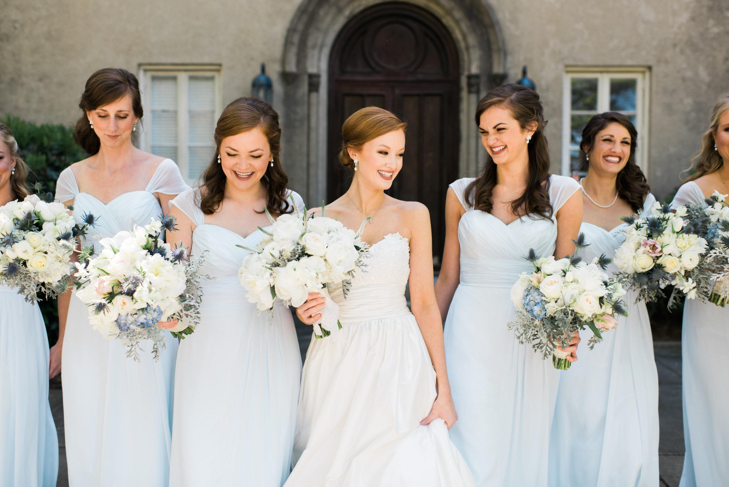 Bridesmaids in airy blue dresses Macon, GA wedding