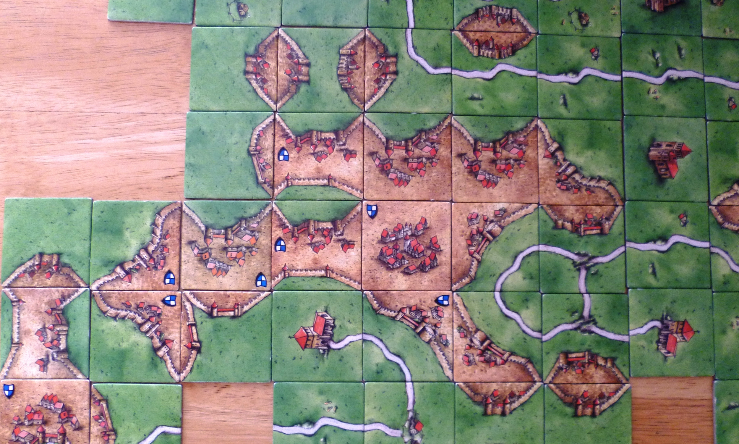 Part of the board at games end after scoring - Reds town eventually earned him 46 points