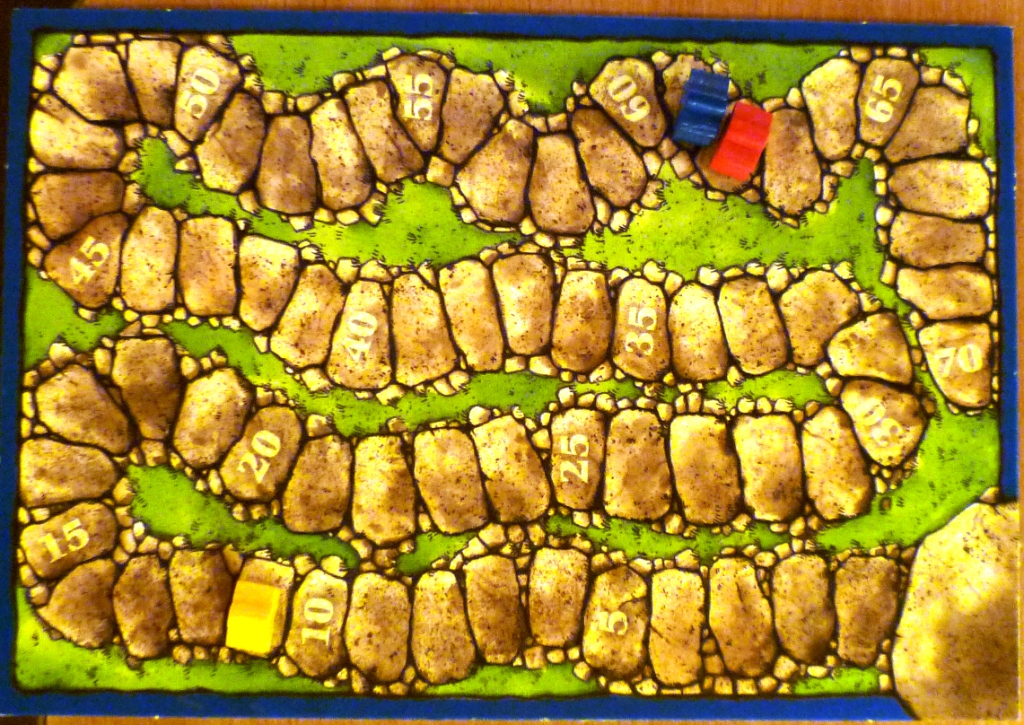 Score board for Carcassonne, yellow on 81 points a clear winner.