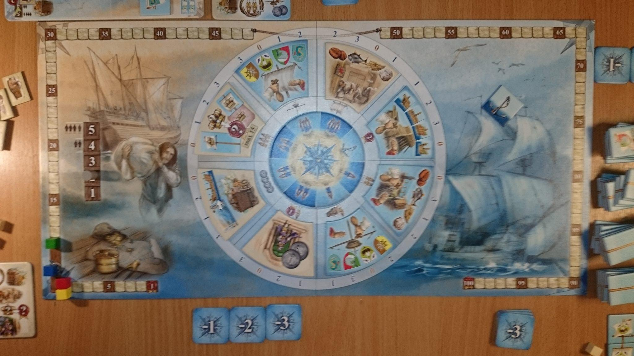 "Nauticus' board, showing the ""action wheel"" in the centre, from which actions are chosen.  The graphics are appropriately...well,  nautical , I suppose."