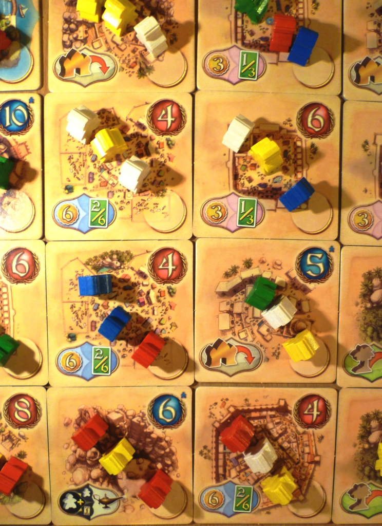The tiles which make up the board of Five Tribes