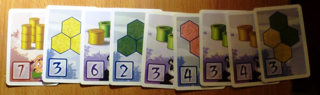 A selection of points cards in Takenoko