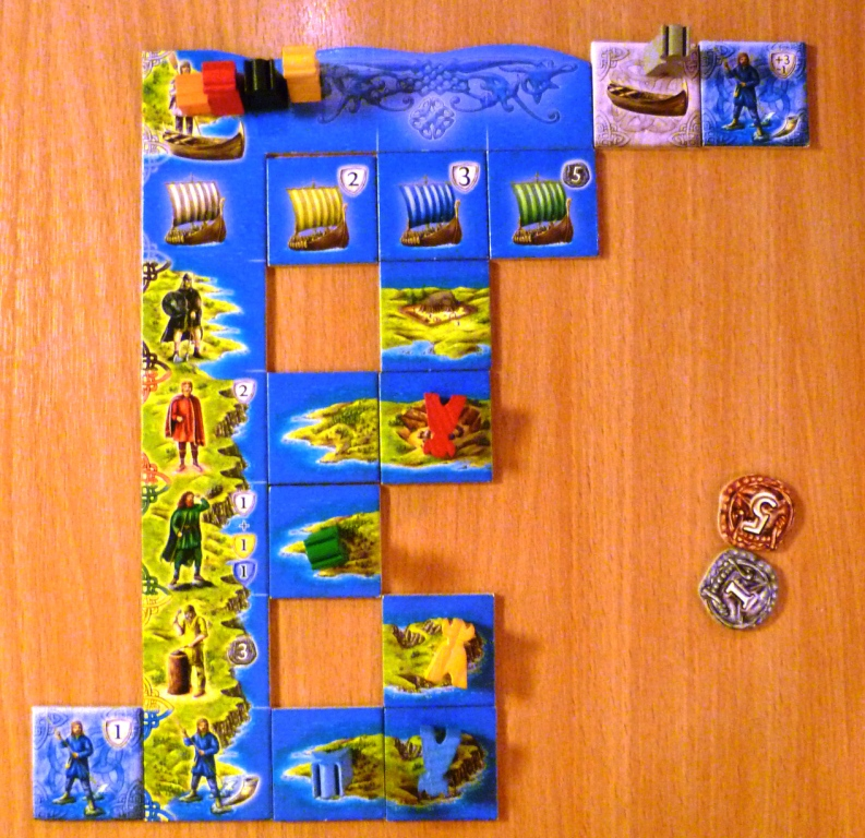 Players display, all ships current un-repelled which affects all the Vikings in column 2 (so they are lain flat).