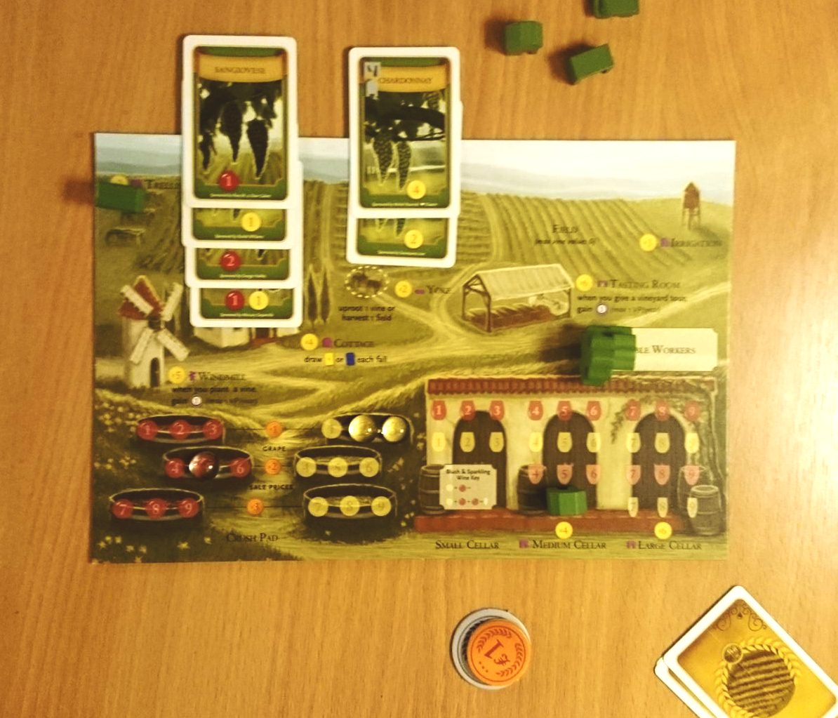 """Viticulture Player Board. You can see the vines that have been planted in the fields at the top, and the cellars and """"crush pads"""" at the bottom."""