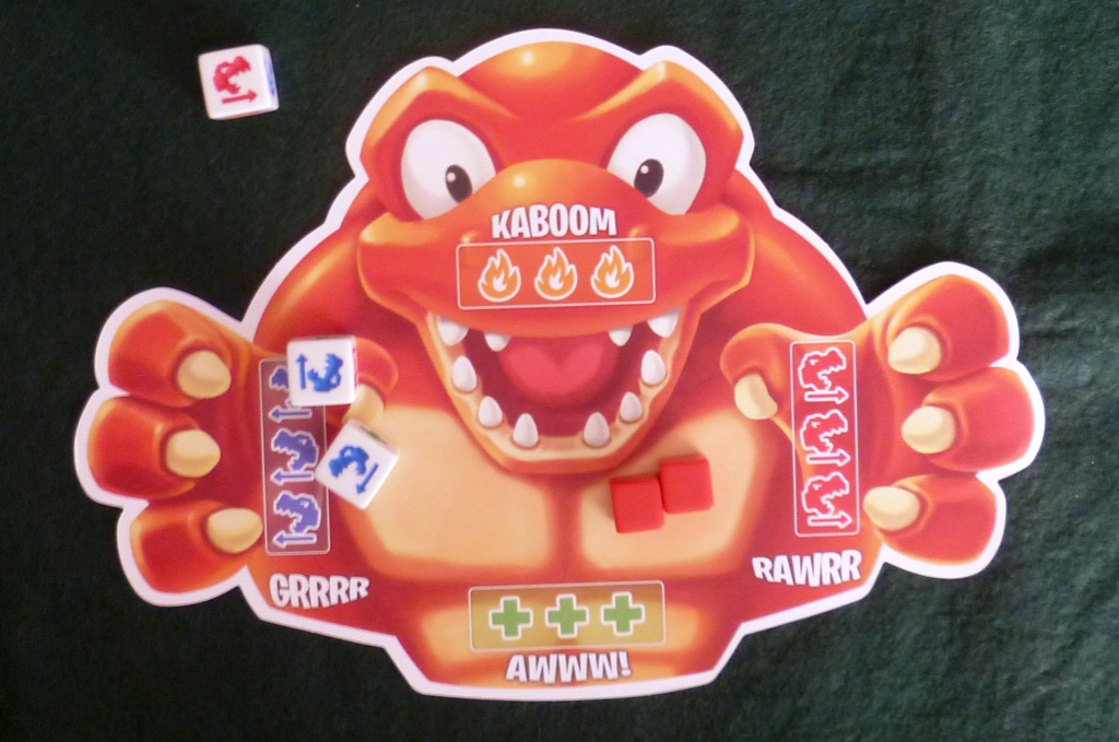 Roar-A-Saurus play mat carrying 2 damage counters but 2/3 of the way to an attack to the left