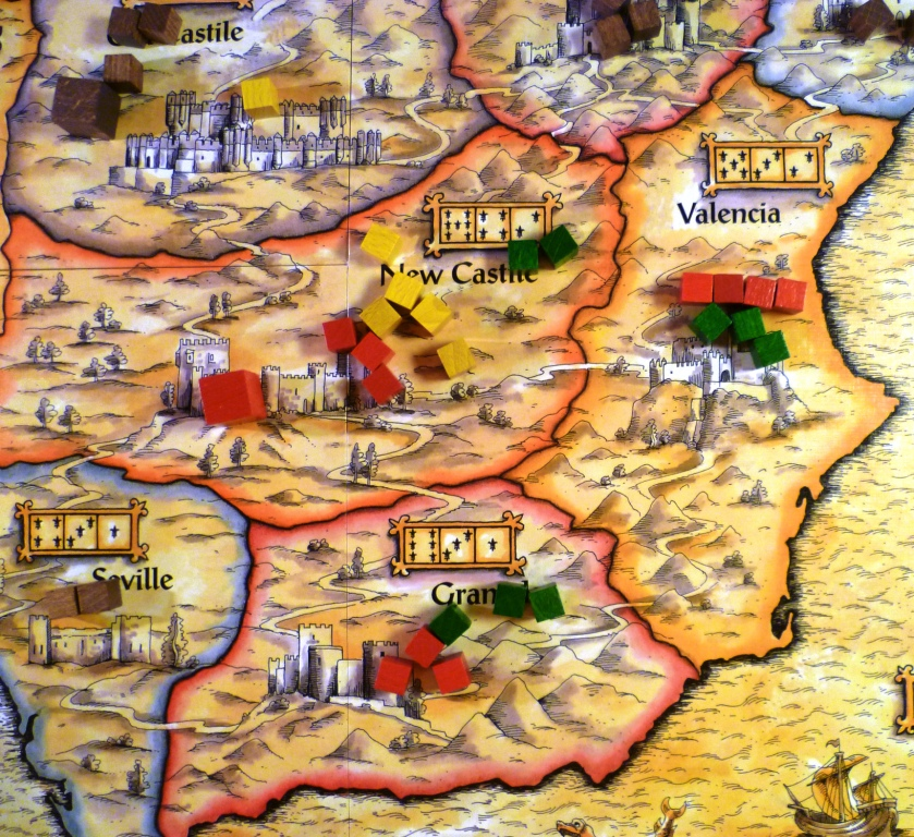 Part of the board showing regions with caballeros battling for control for the points values shown