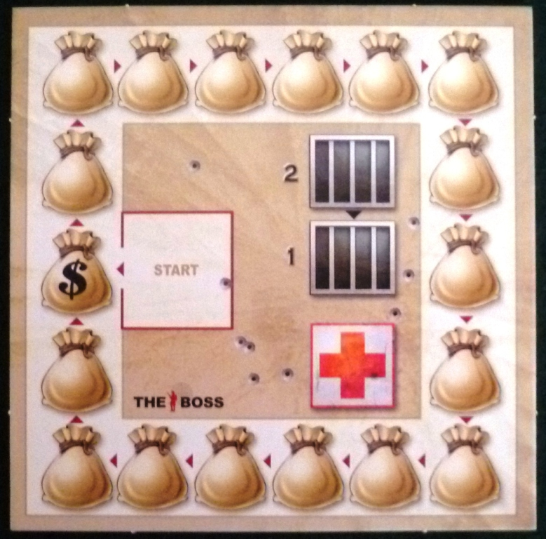 The score board also containing a prison and hospital for injured and captured mobsters.