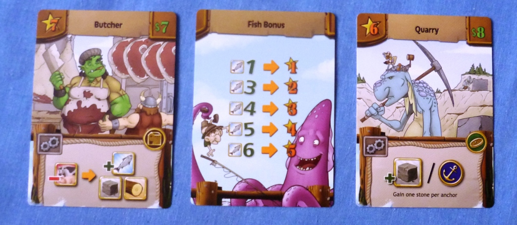 2 building cards in Harbour flanking a bonus victory point card