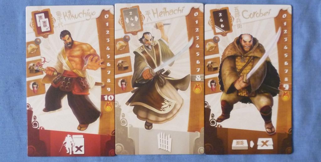 Three of the Seven available Samurai