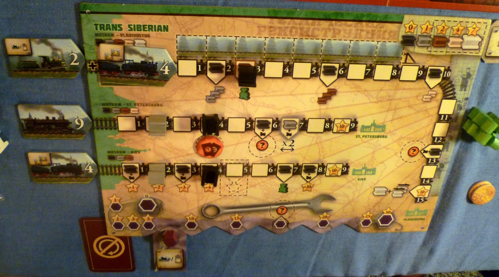 Early part of the game in Russian Railroads