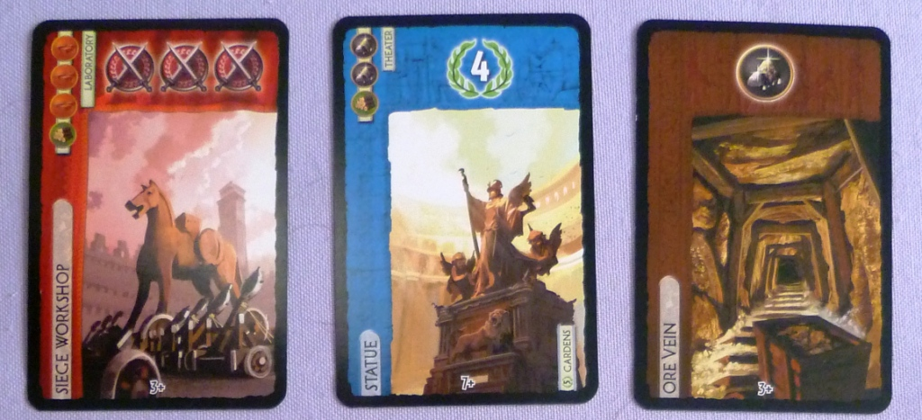 Examples of Military, Monument and Resource cards.
