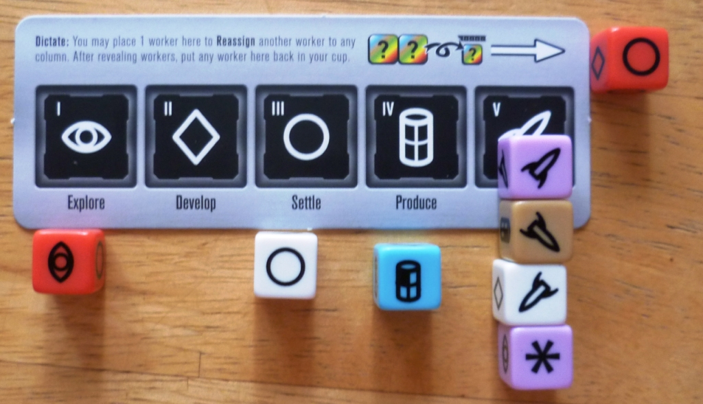 4 Rockets are chosen as the primary action here. The die rolling and job choices all take place behind screens and are revealed simultaneously. 3 options are secondary and will only occur if another player chooses them as a primary choice.