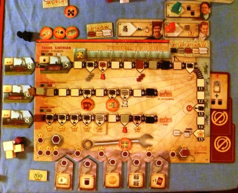 My personal board layout at the end of Russian Railroads