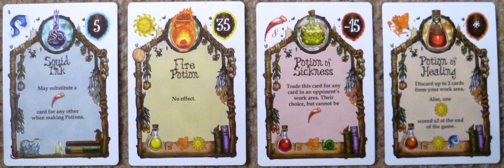Level2 cards - contains some potions (needing 1 ingredient discarded) others are ingredients slightly better than the level 1 ones.