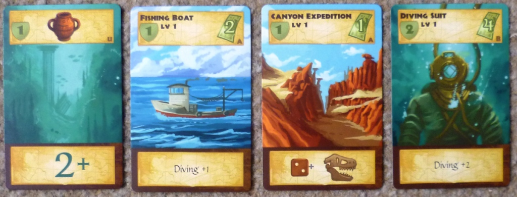 There are many different cards available depicted here are Treasure from a dive, 2 items (boat and diving suit) and an expedition.