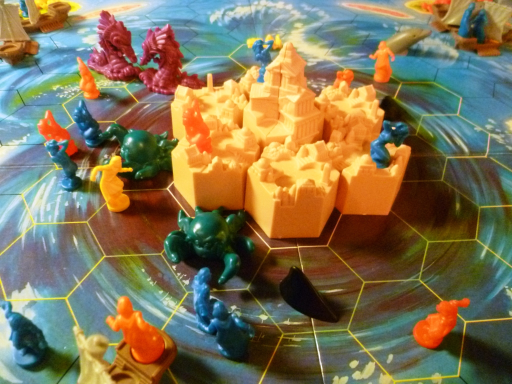 All that is left is the Citadel surrounded by Sea Monster, Sharks (Black fin shapes) and Octopuses
