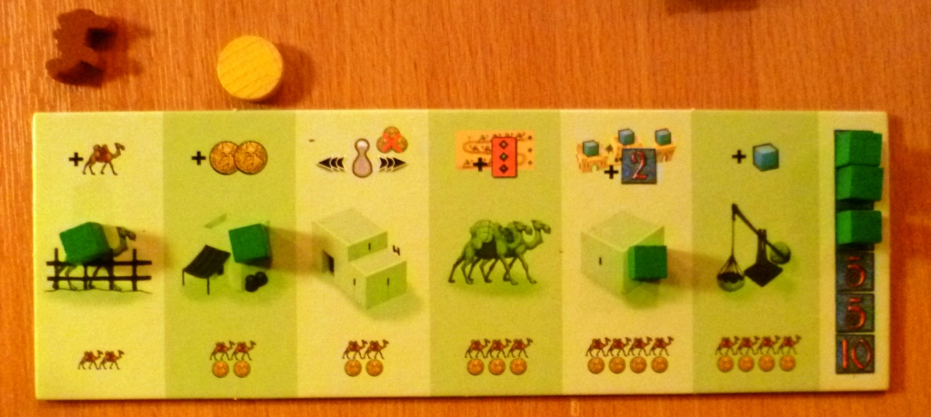 The green players board with 3 bonuses achieved.