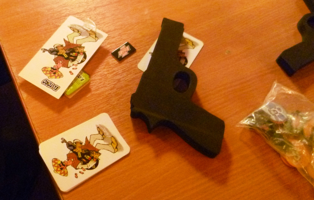 El Toro has been shot, he has taken a wound counter, sadly he will not be able to take any of the loot this round.