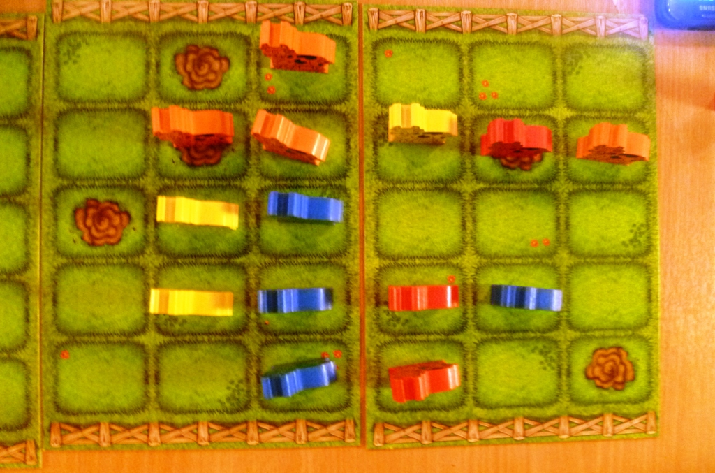 Aerial view of the cows, please note that red only has 3 on the board as his fourth one keeps getting sent backwards!!!