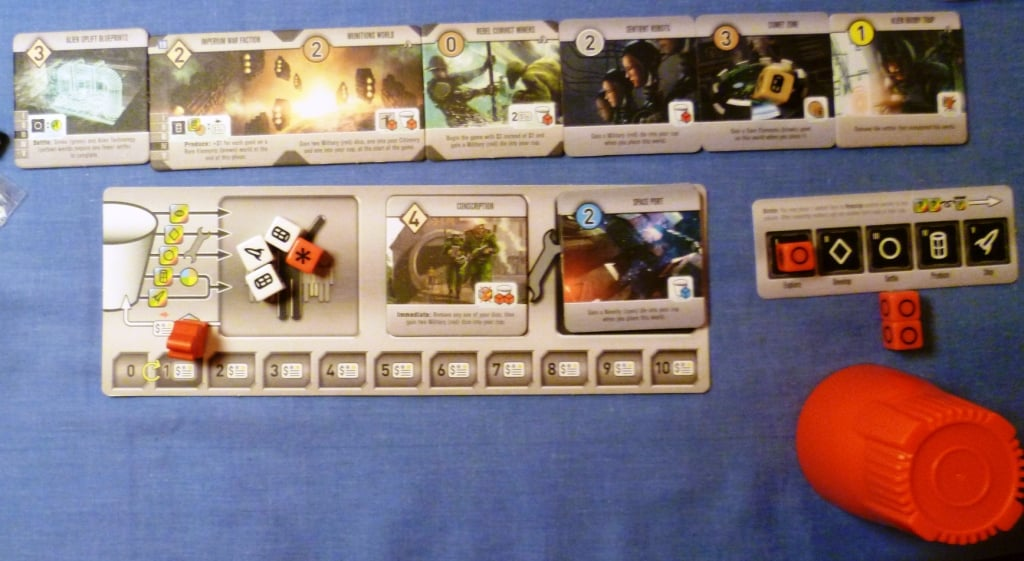 My badly managed empire in Roll for the Galaxy, I ended up with just red dice towards the end.