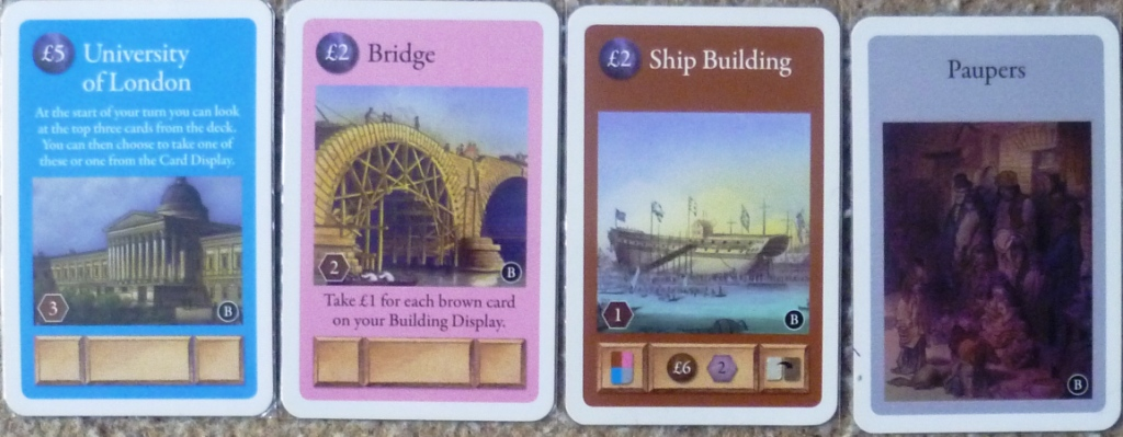 A sample of the cards - the centre box at the bottom of the Ship Building shows the rewards for when the card is activated