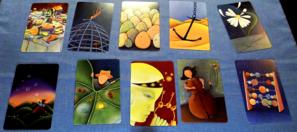 Dixit cards laid out for Codenames