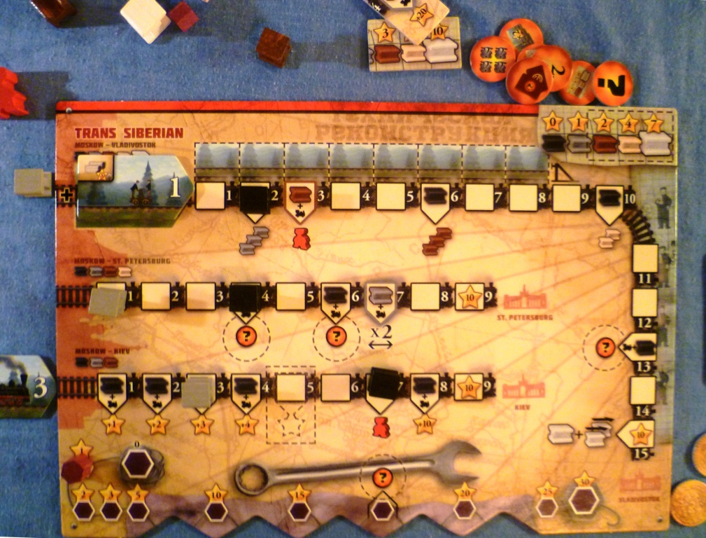 Reds player board early in the game, Moscow-Kiev is being developed with the black rail triggering an extra worker bonus and the grey rail scoring 3 points because of the 3 train, the black rail is scoring a bonus 6 points.