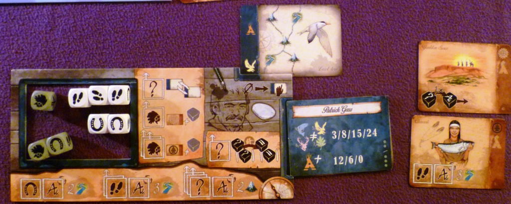 The white players dice (left), natives (right) and current travel card (top)