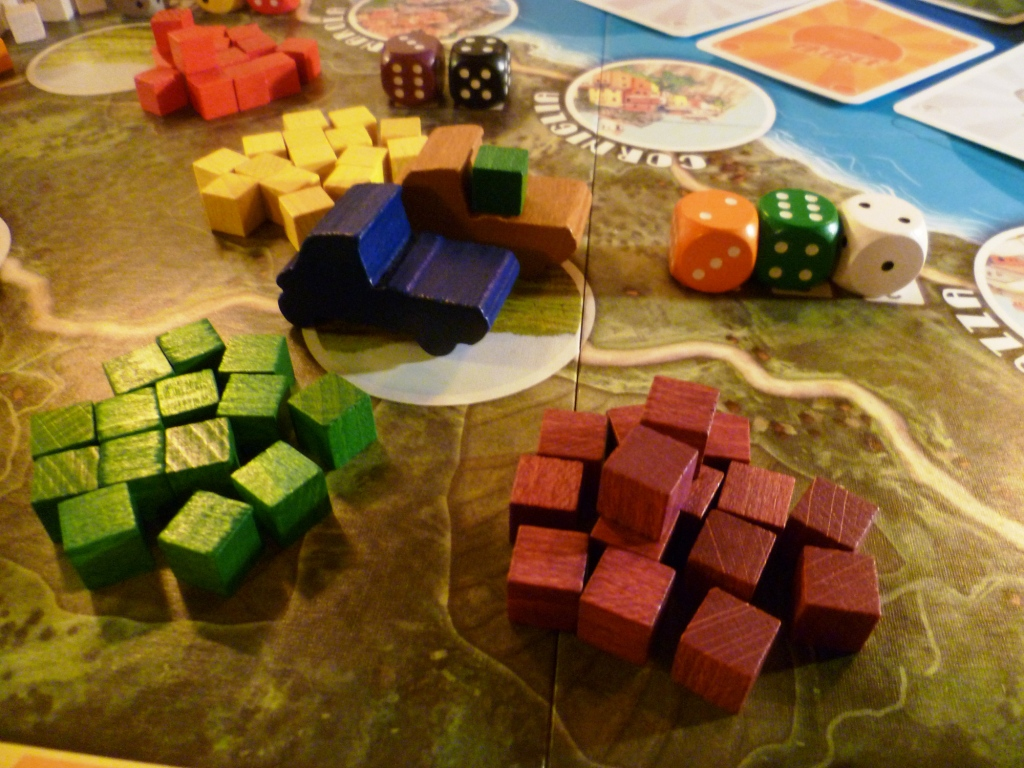Two trucks at a farm with demand dice pictured behind