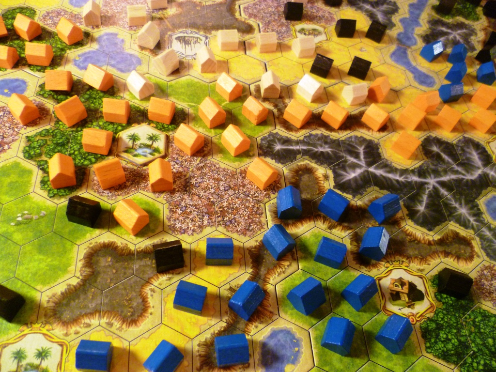 Players houses/settlements on part of the board at the end of the game.