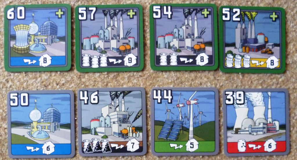 Factories from the 2004 edition (bottom row) and the New Power Plants expansion 2007 (top row)