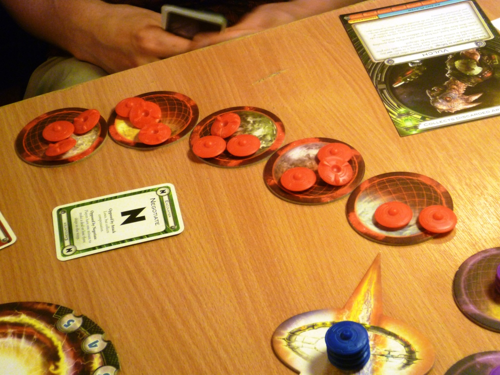 Blue attacks red in Cosmic Encounters