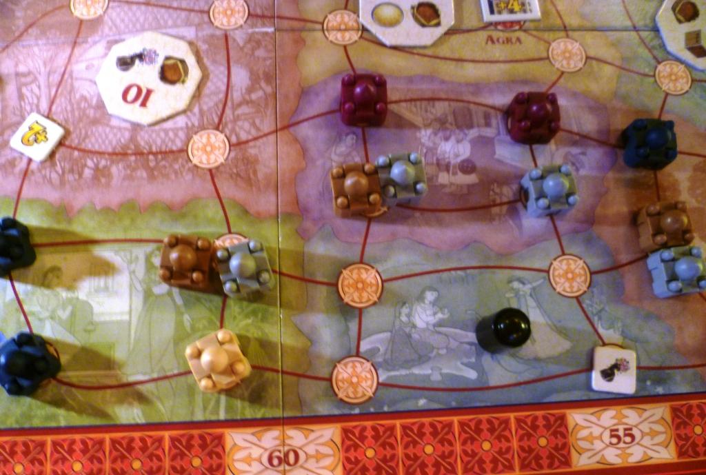Taj Mahal, part of the board mid-game.
