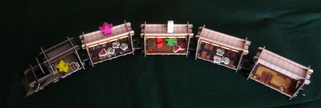 The Colt Express, the Marshall (yellow piece) is guarding the $1000 loot bag