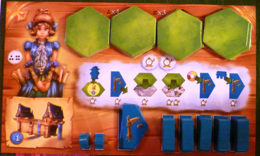 A player board at the game start with the actions listed in the middle of the board