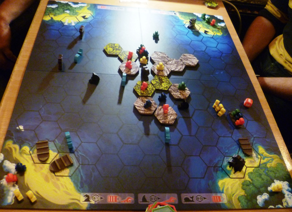 Survive gives us meeples instead of pawns and slotted boats, but where are the Dolphins?