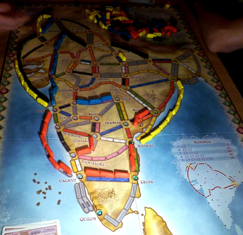 Ticket to Ride India where the idea is to make big loops