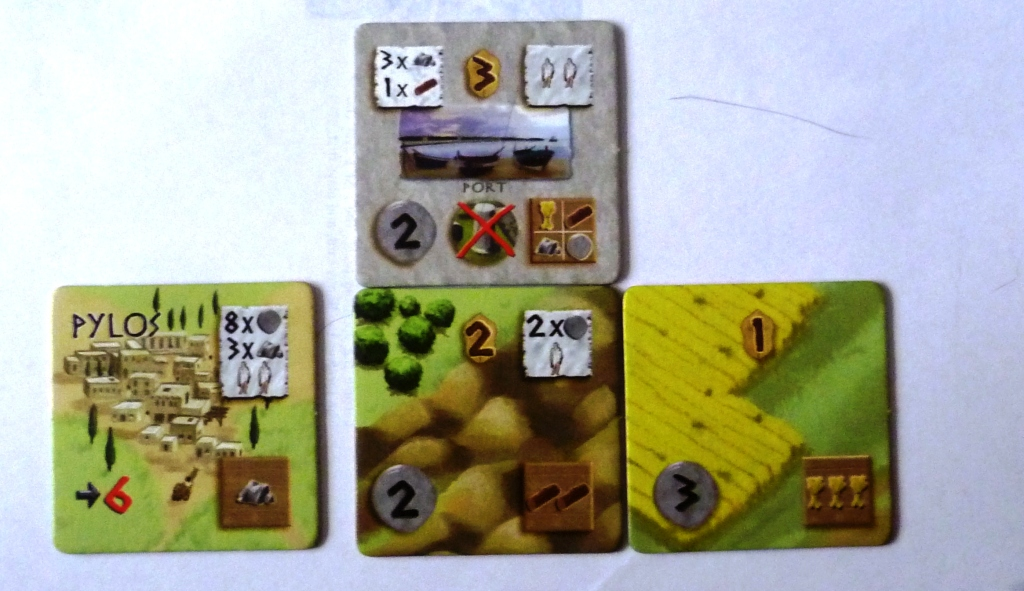 Pylos is the start tile here - this is a mock up just showing layout, the wheat field could not be played here as there is no matching production symbol on it and the adjacent tile. The Port tile required 3 stone and 1 wood to build, came with an instant 2 population and a choice of 1 income from any of the 4 base commodities. The wheat field gives an income of 3 wheat.