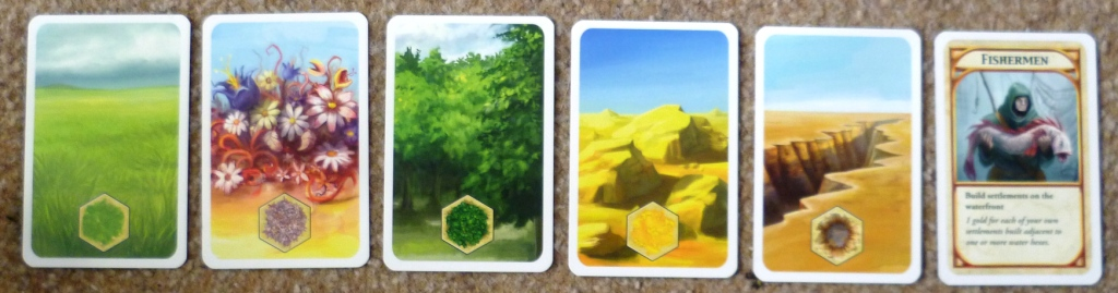 Sample of the terrain cards and a points card