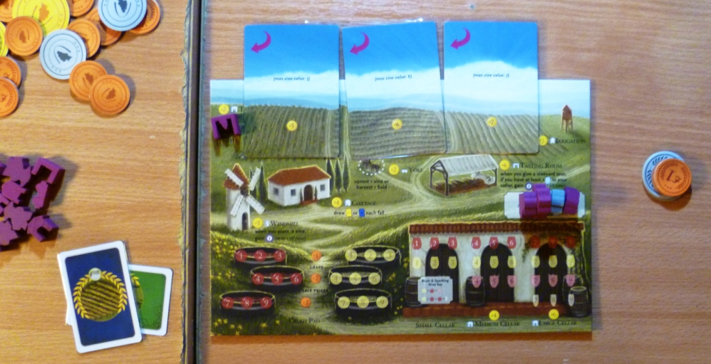 Viticulture - a player board with 3 fields